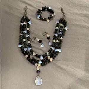 Black opalized crystal set
